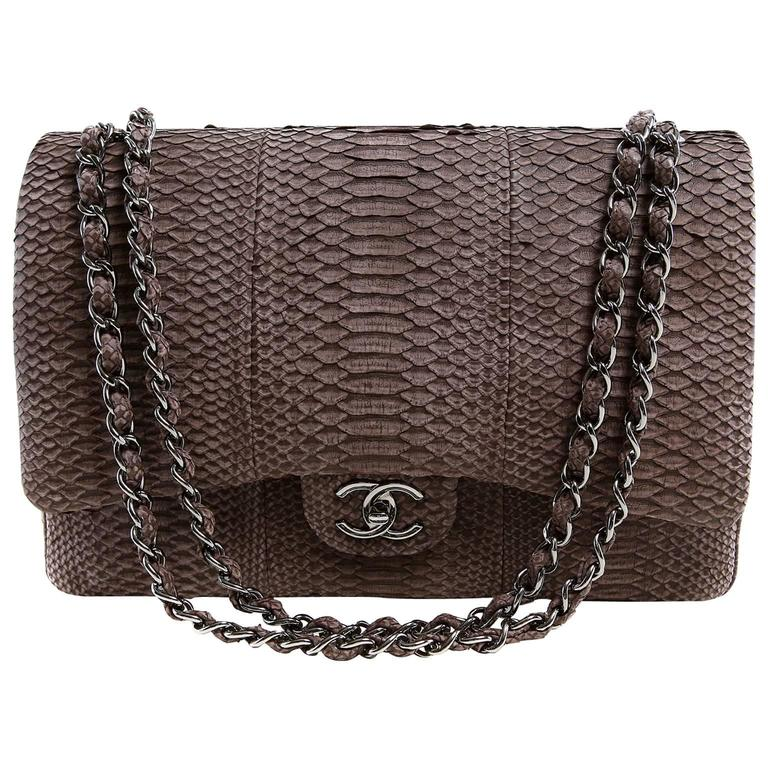 Chanel Taupe Python Jumbo Classic Flap Bag Silver Hardware For