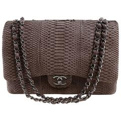 Chanel Brown Python Jumbo Classic Flap Bag- Silver Hardware