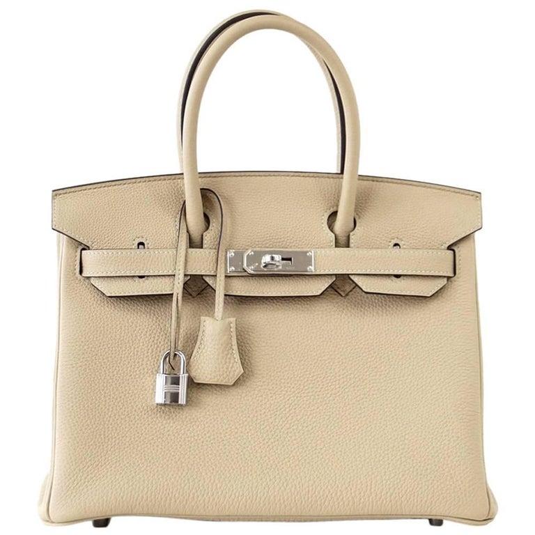 Hermes Birkin 30 Bag Neutral Perfection Trench Palladium Hardware  For Sale