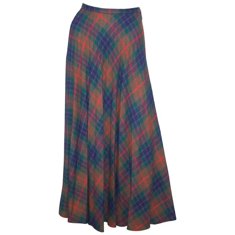 Mad For Plaid 1970's Wool Micro Pleated Maxi Skirt