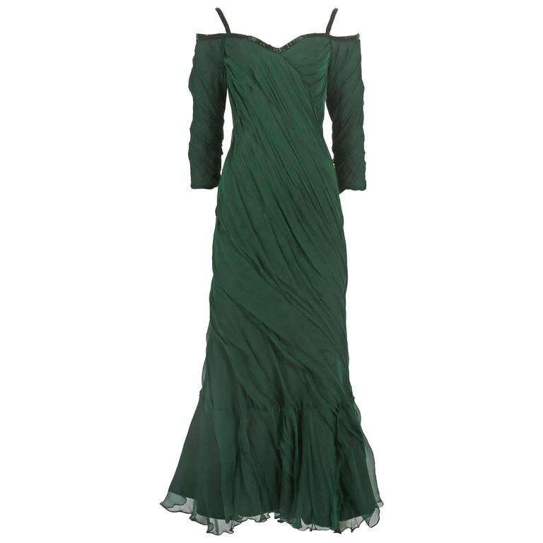 Antony Price bias cut chiffon evening gown, circa 1980s