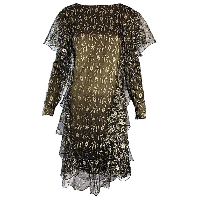 Vintage Holly's Harp Dark Green and Gold Silk Lace Ruffles Flapper Style Dress