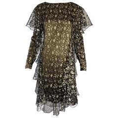Vintage Holly's Harp Dunkelgrüne und Goldfarbene Seide Spitze Rüschen Flapper Stil Kleid