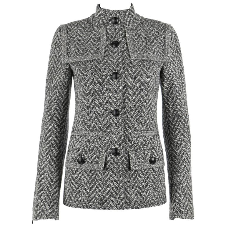 CHANEL A/W 2008 Collection Black White Wool Tweed Herringbone Dual Flap Jacket For Sale