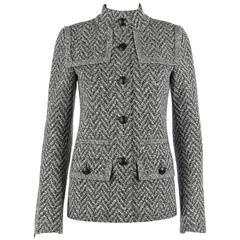 CHANEL A/W 2008 Collection Black White Wool Tweed Herringbone Dual Flap Jacket