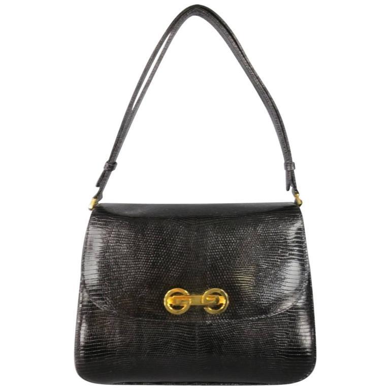 fc06461d6eb5ad Vintage GUCCI Black Lizard Skin Leather Gold G Handbag at 1stdibs