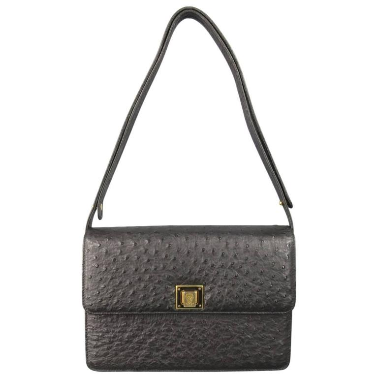 Vintage GUCCI Black Ostrich Leather Gold Crest Shoulder Bag For Sale