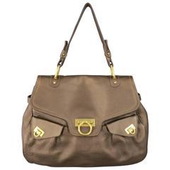 SALVATORE FERRAGAMO Brown Leather Gold Gancini Satchel Shoulder Bag