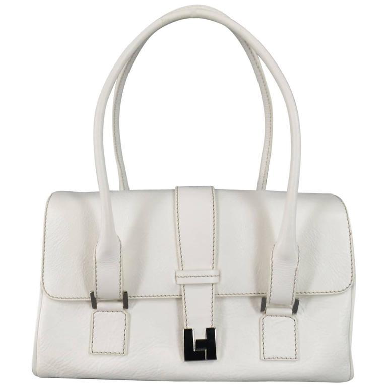 Lambertson Truex White Leather Shoulder Bag