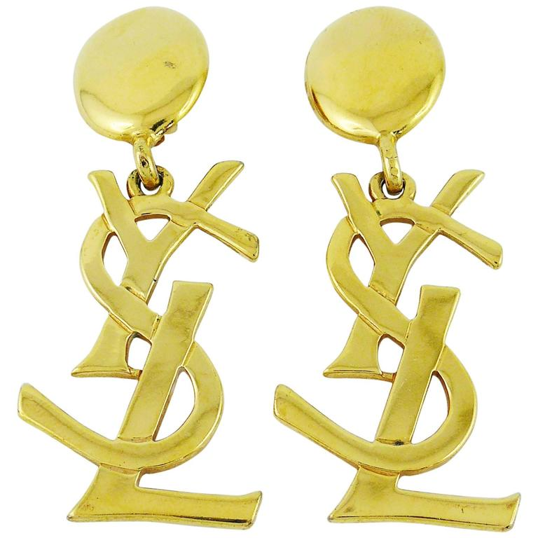 Yves Saint Laurent YSL Vintage Rare Massive Iconic Logo Dangling Earrings 1