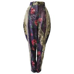 Unique Gianni Versace Metallize Silk Printed Pants Winter 1989