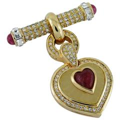 Christian Dior Vintage Diamante and Ruby Heart Dangle Brooch