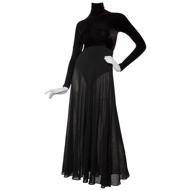 A 1990s Donna Karan Black Velvet Evening Gown