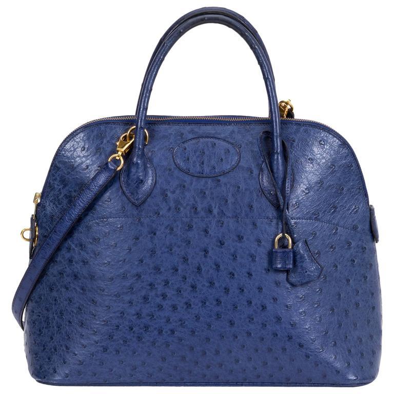 Hermès Blue 35cm Ostrich Bolide Bag