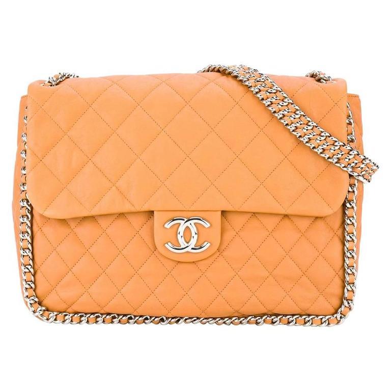Chanel Orange Leather Jumbo Classic Flap Bag At 1stdibs
