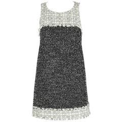 CHANEL 2014 Black White Boucle Tweed Fringe Sleeveless Shift Mini Dress Size 36