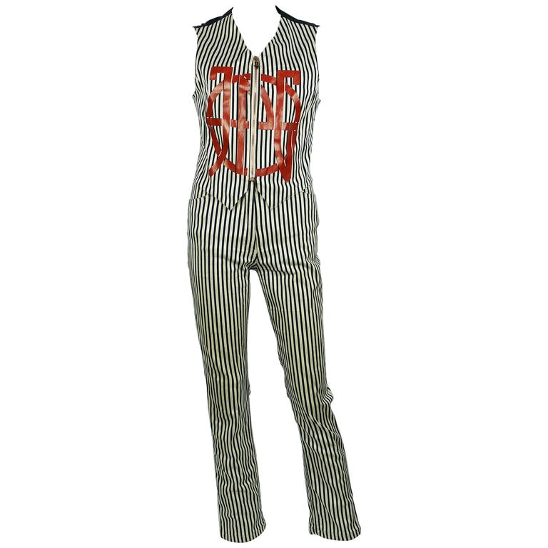 Jean Paul Gaultier Vintage 1990s Striped Vest and Trouser Set