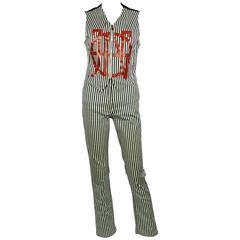 Jean Paul Gaultier Vintage 1990s Striped Vest and Trouser Set