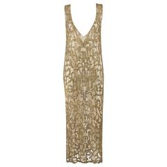 Couture c.1920's Gold Sequin Beaded Net Plunging Flapper Art Deco Evening Dress