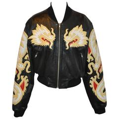 "Michael Hoban/North Beach Leather Butter Soft Zipper ""Dragon"" Calfskin Jacket"