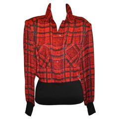 Cardiere et Cie Multi Color Silk Plaid with Wool Jersey Button Pullover