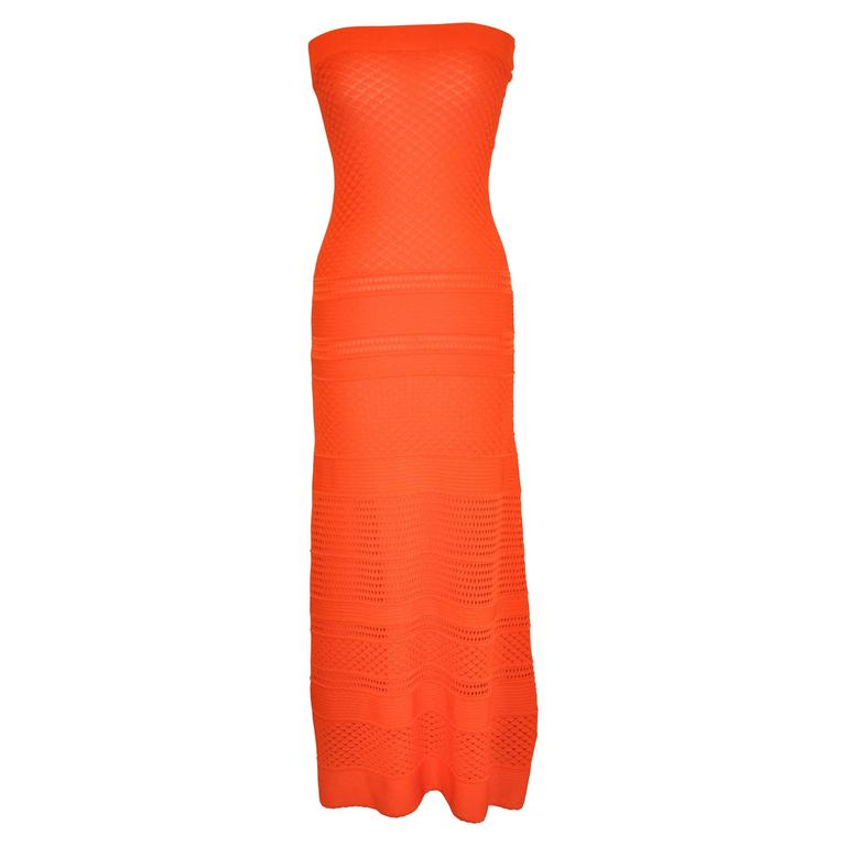 Multi-Woven Fully Lined Tangerine Strapless Dress/ Maxi Skirt