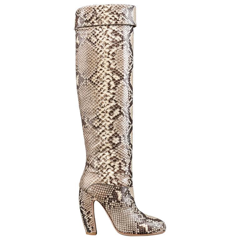 "MIU MIU PRADA ""ROCCIA"" Genuine Python Snakeskin Knee High Heeled Boots Size 36"