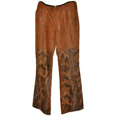 Granfranco Ferre Men's Multi-Color Faux Fur Jean-Style Trousers