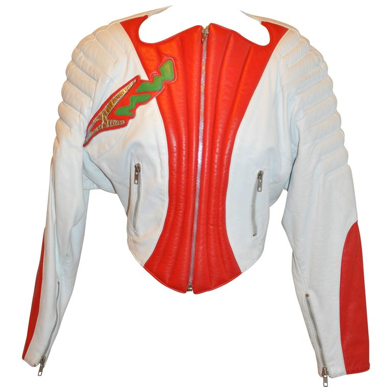 "Thierry Mugler ""Space Age"" Red & White Leather Quilted Jacket with Capri"