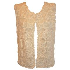 Hand Crochet with Hand Embroidered Detailing Front-Tie Vest