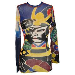 "Jean Paul Gaultier ""Japanese Theme"" Multi-Color Netted Pullover"