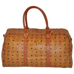MCM Large Signature Zipper Top Travel Tote