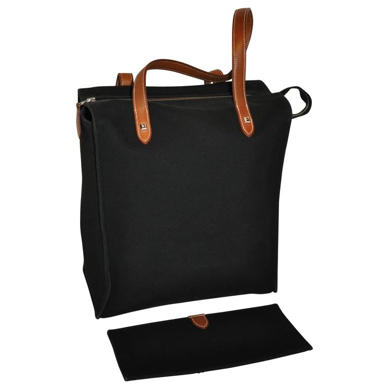Hermes Black Canvas Travel Tote