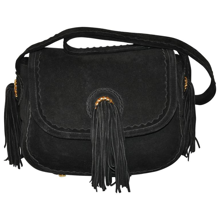 Moschino Midnight Black Lambskin Suede with Tassels Accent Shoulder Bag For Sale