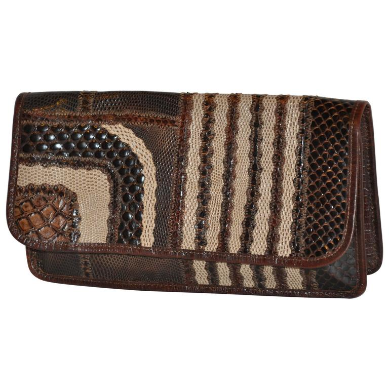 Carlos Falchi Multi-Textured Exotic Skins Coco Brown Clutch For Sale
