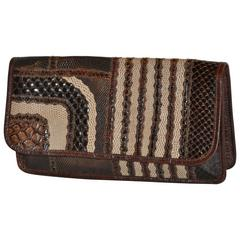 Carlos Falchi Multi-Textured Exotic Skins Coco Brown Clutch
