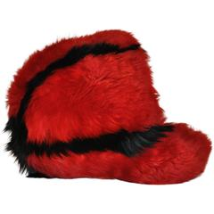 Deep Red with Black Accent Shearling Cap