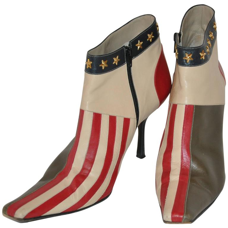 "Moschino ""Stars & Stripes"" Studded Zippered Ankle Boots For Sale"