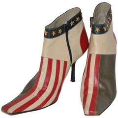 "Moschino ""Stars & Stripes"" Studded Zippered Ankle Boots"