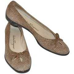 """Ferragamo """"Boutique"""" Taupe & Brown Lambskin Suede """"Bow"""" Front Flats"""
