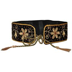 Mary McFadden Handmade Detailed Floral Velvet Fringed Tie Evening Belt