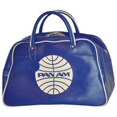 Pan Am Iconic Signature Navy & White Zipper Top Travel Tote