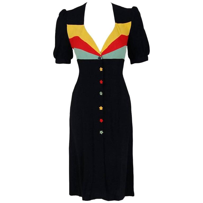 1970's Ossie Clark Traffic-Light Block Color Moss-Crepe Puff Sleeve Dress For Sale