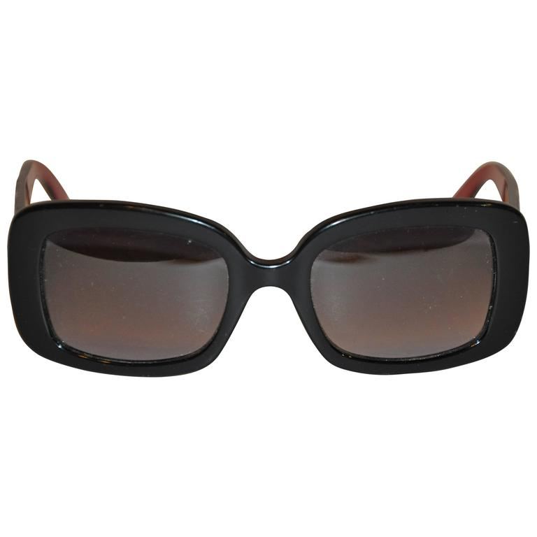 Christian Dior Thick Black Lucite with Brick Lucite Interior Sunglasses 1