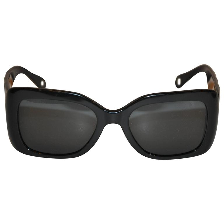 "Chanel Thick Black Lucite with ""Quilted"" Arms Sunglasses For Sale"