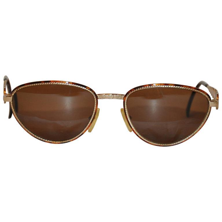 "Fendi Rare ""Horoscope Characters"" Etched Gold Hardware Sunglasses"