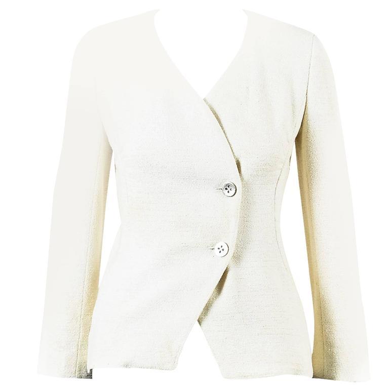 Chanel 00T Cream Cotton Tweed Collarless Two Button Blazer Jacket Size 36 1