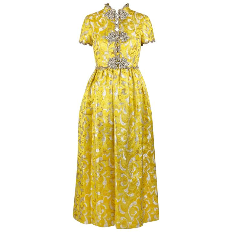 Oscar De La Renta C1968 Yellow Lurex Brocade Silk Beaded Evening