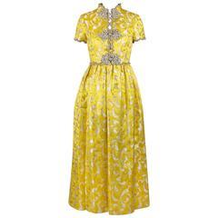 OSCAR de la RENTA c.1968 Yellow Lurex Brocade Silk Beaded Evening Gown Dress