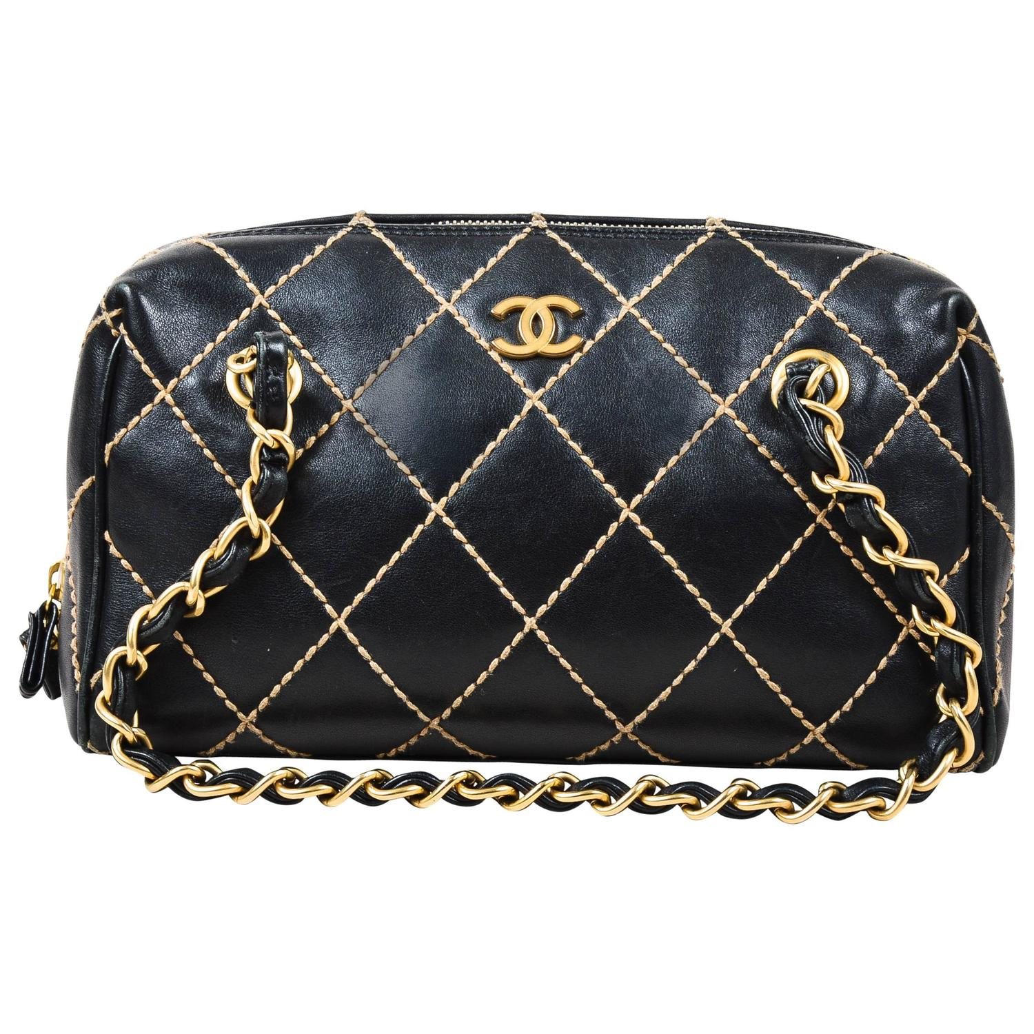 Leather quilted handbags and purses - Chanel Black Beige Leather Quilted Wild Stitch Small Shoulder Bag At 1stdibs